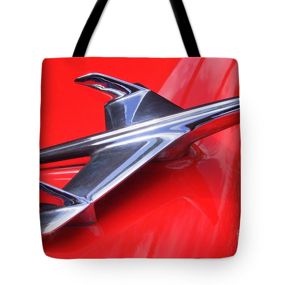 Chevy Tote Bag featuring the photograph 1956 Chevy Hood Ornament by Mary Deal