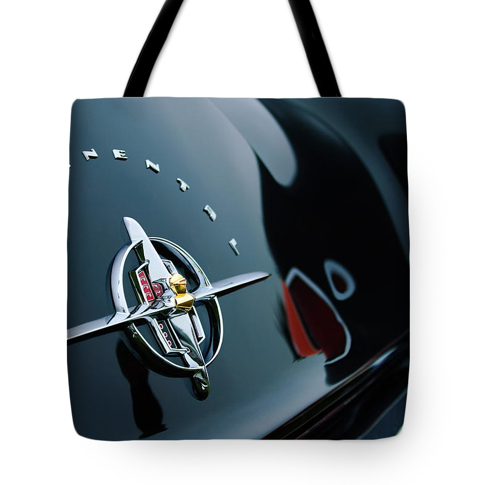 1956 Lincoln Continental Mark Ii Coupe Rear Emblem Tote Bag featuring the photograph 1956 Lincoln Continental Mark II Coupe Rear Emblem by Jill Reger
