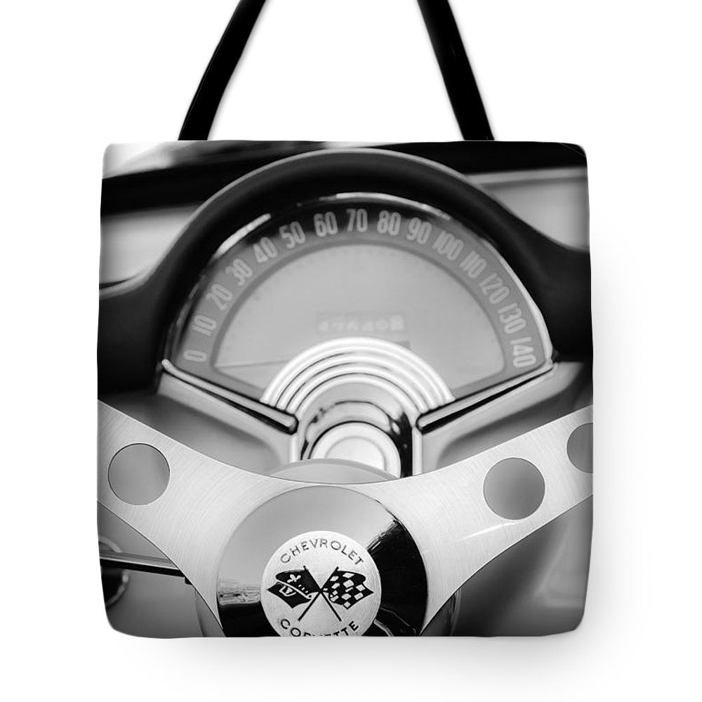 1957 Chevrolet Corvette Convertible Tote Bag featuring the photograph 1957 Chevrolet Corvette Convertible Steering Wheel 2 by Jill Reger