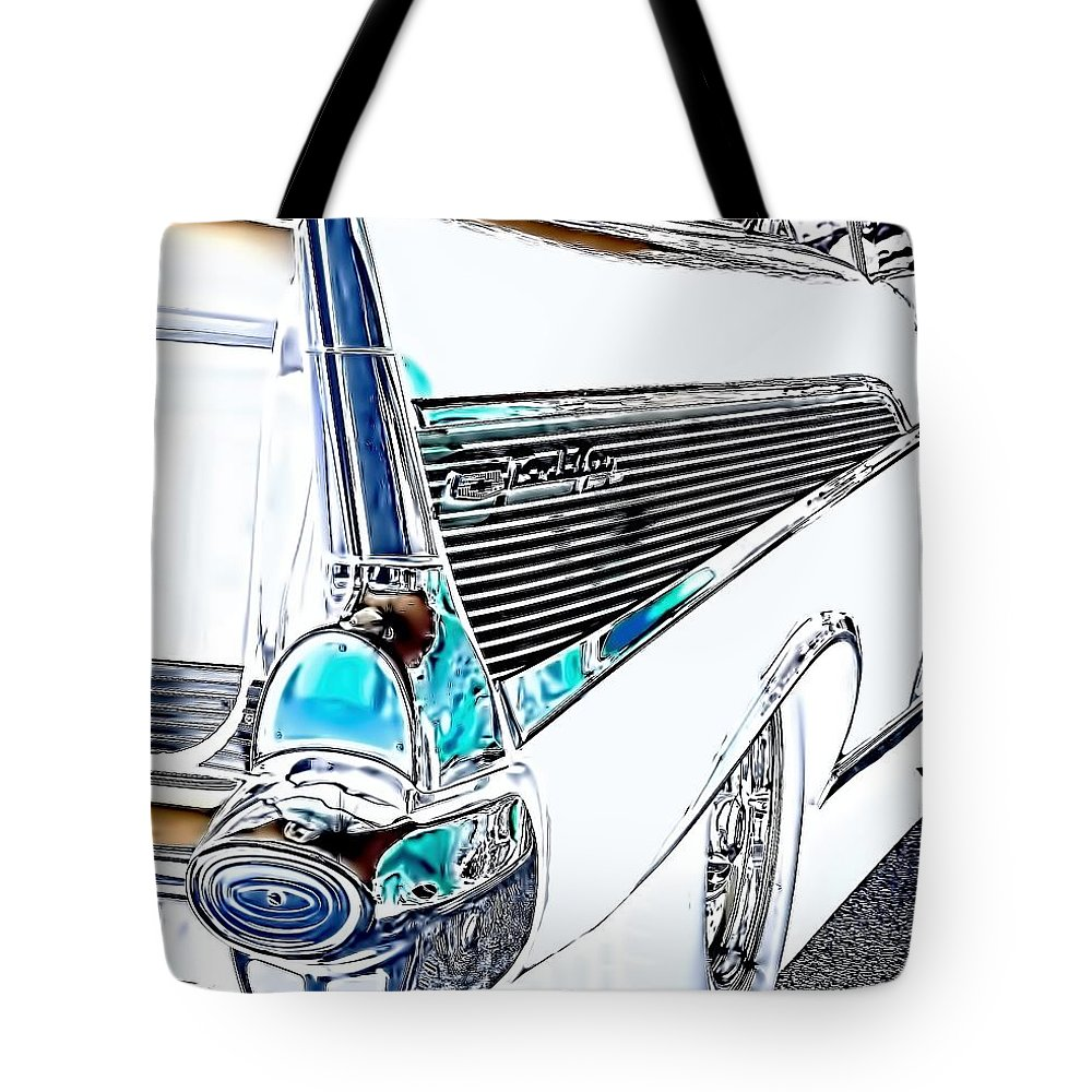 1957 Tote Bag featuring the photograph 1957 Chevrolet Bel Air Art White by Lesa Fine