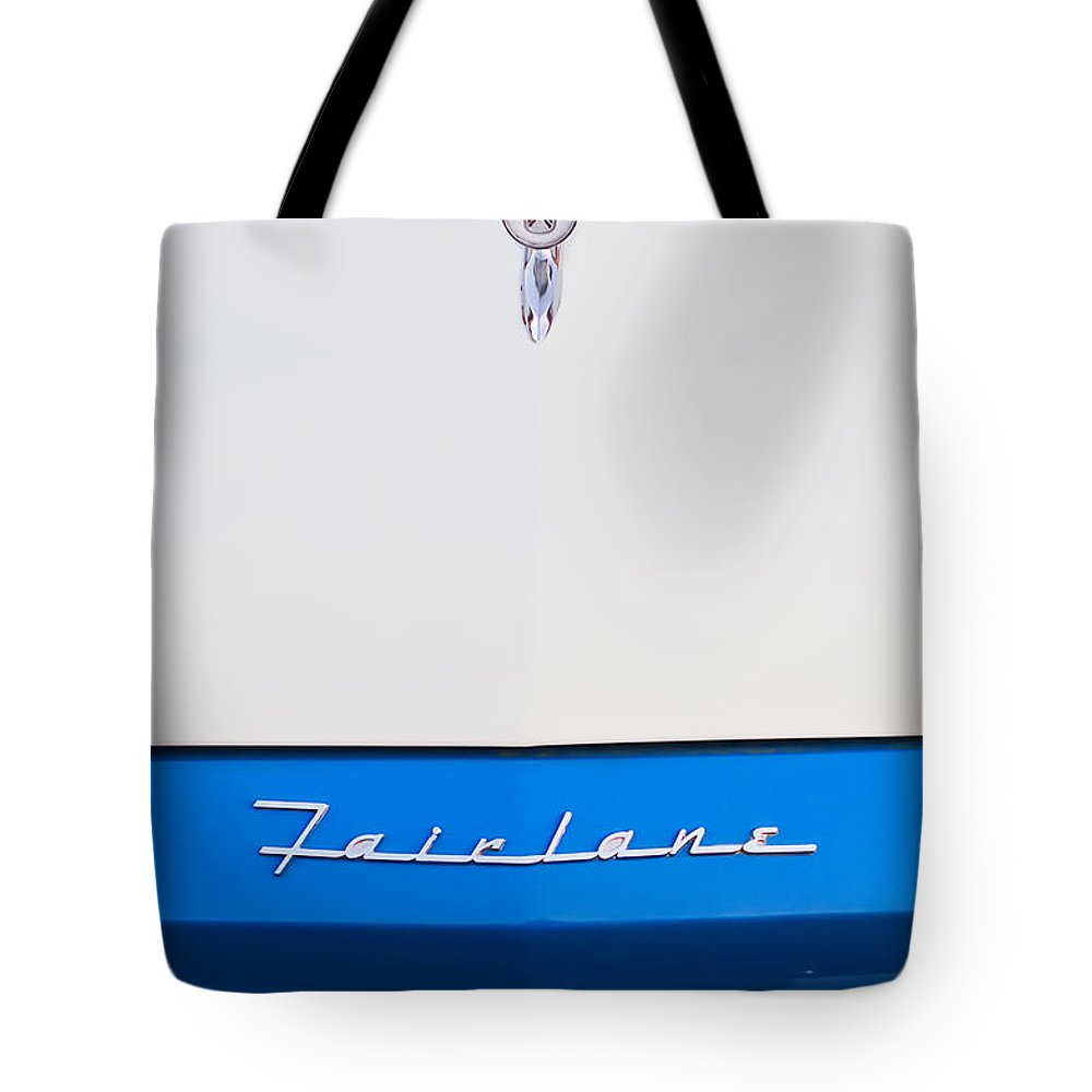 1957 Ford Fairlane Hood Ornament Tote Bag featuring the photograph 1957 Ford Fairlane Hood Ornament by Jill Reger
