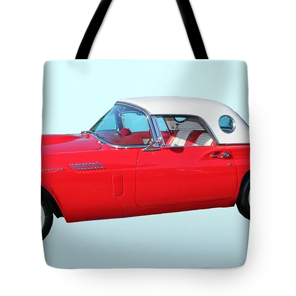 1957 Ford Thunderbird Tote Bag featuring the photograph 1957 Ford Thunderbird by Aaron Berg