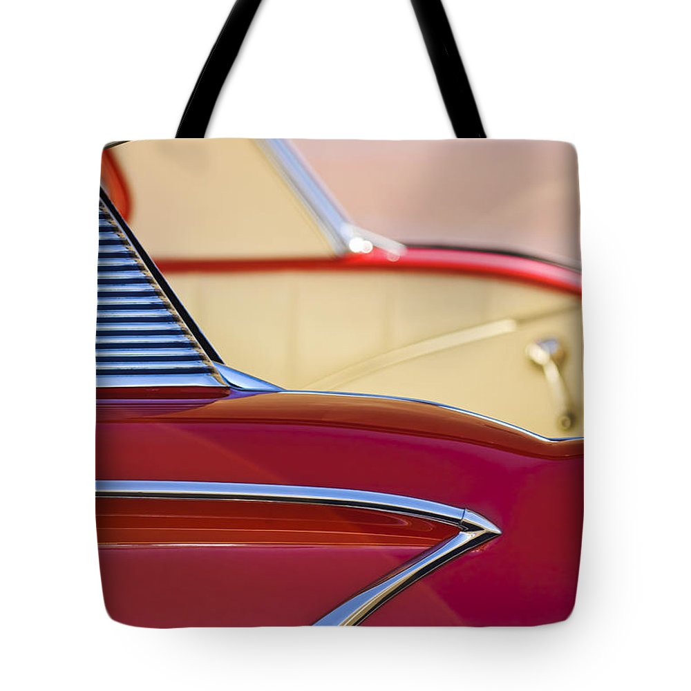1958 Chevrolet Belair Tote Bag featuring the photograph 1958 Chevrolet Belair Abstract by Jill Reger