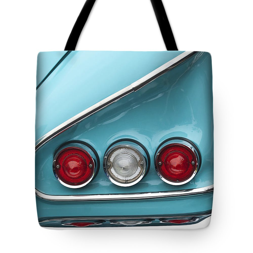 1958 Chevrolet Impala Tote Bag featuring the photograph 1958 Chevrolet Impala Taillights by Jill Reger