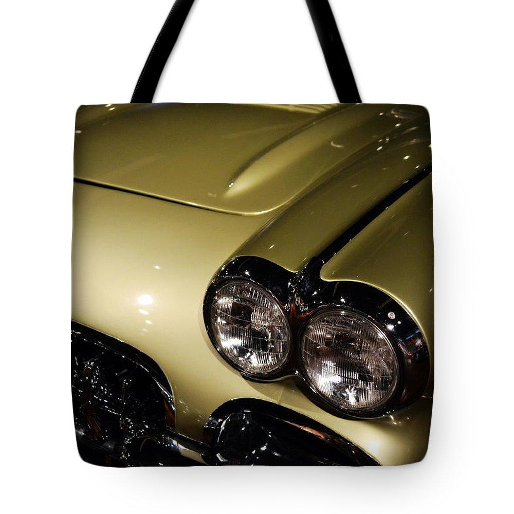 Corvette Tote Bag featuring the photograph 1958 Fancy Free Corvette J58s by Michelle Calkins