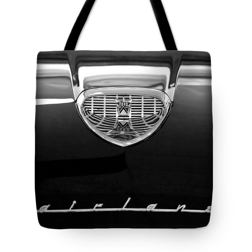 1958 Ford Fairlane 500 Victoria Hood Emblem Tote Bag featuring the photograph 1958 Ford Fairlane 500 Victoria Hood Emblem by Jill Reger