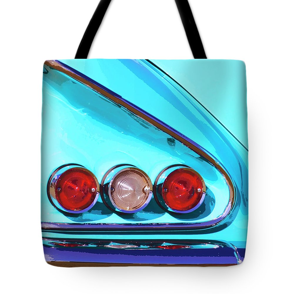 Palm Springs Tote Bag featuring the photograph 1958 Impala Palm Springs by William Dey