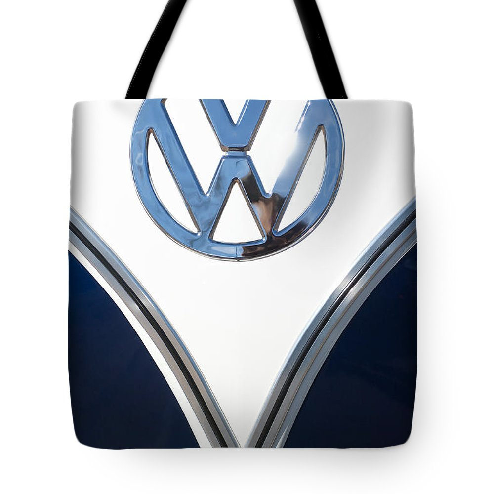 1958 Volkswagen Vw Bus Tote Bag featuring the photograph 1958 Volkswagen Vw Bus Emblem by Jill Reger