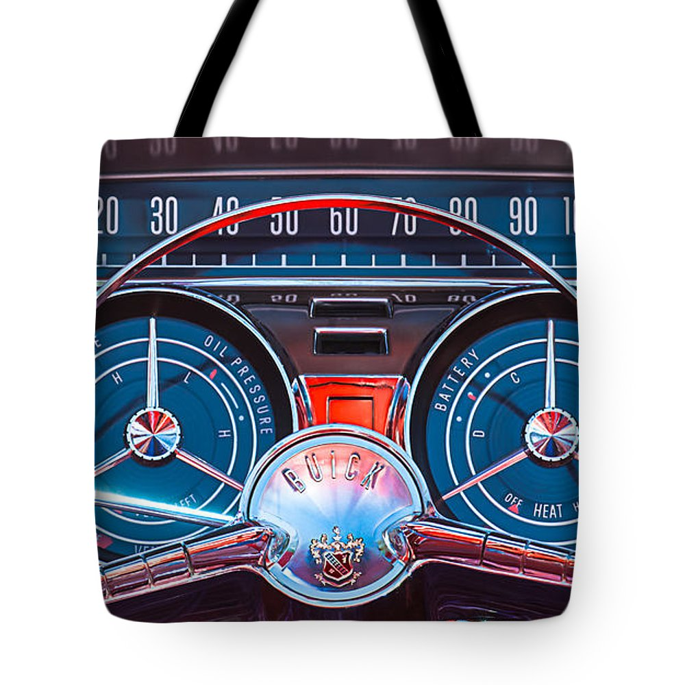 Car Tote Bag featuring the photograph 1959 Buick Lesabre Steering Wheel by Jill Reger