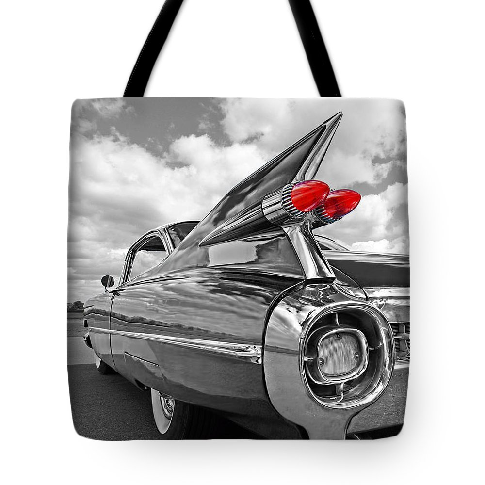 Cadillac Tote Bag featuring the photograph 1959 Cadillac Tail Fins 1959 by Gill Billington