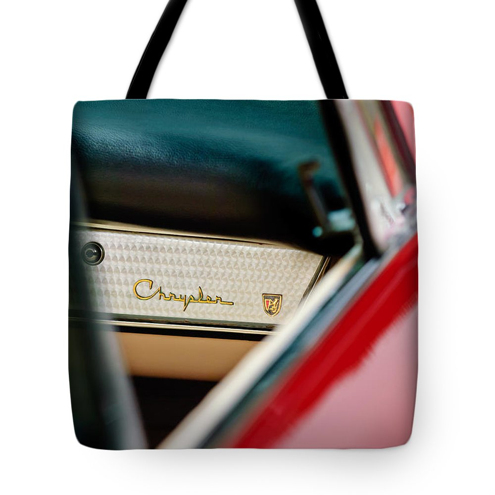 1959 Chrysler 300 Tote Bag featuring the photograph 1959 Chrysler 300 Dashboard Emblem by Jill Reger