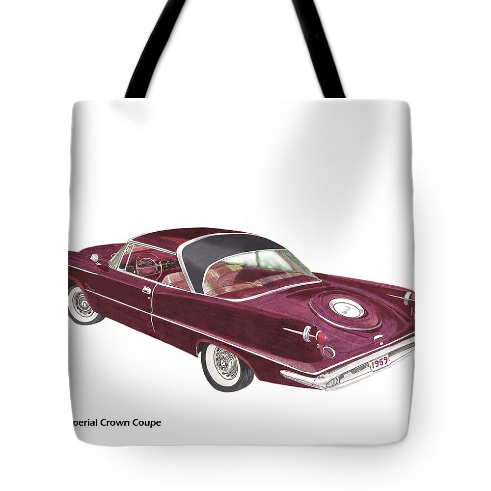 1959 Chrysler Imperial Tote Bag featuring the painting Imperial By Chrysler by Jack Pumphrey