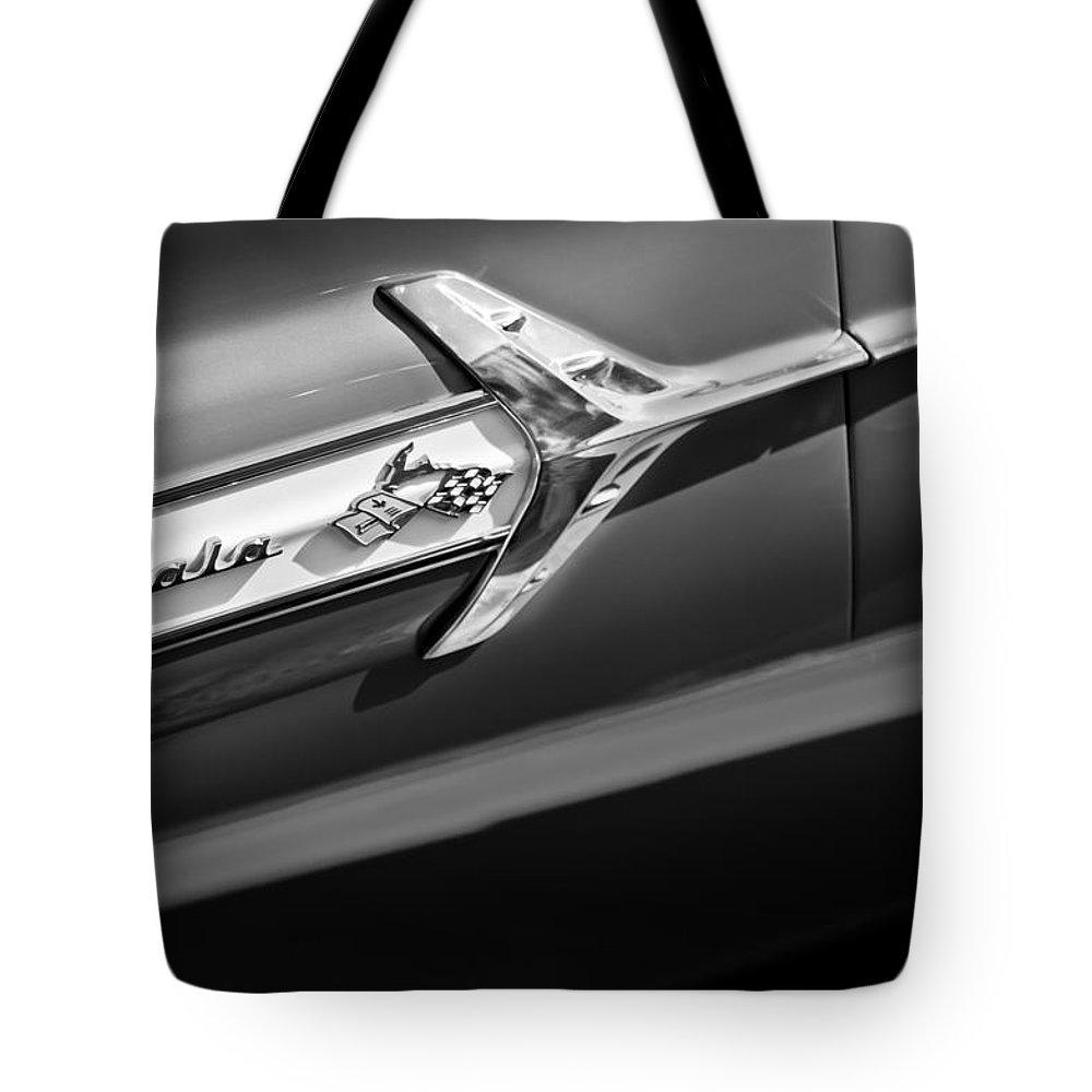 1960 Chevrolet Impala Side Emblem Tote Bag featuring the photograph 1960 Chevrolet Impala Side Emblem by Jill Reger