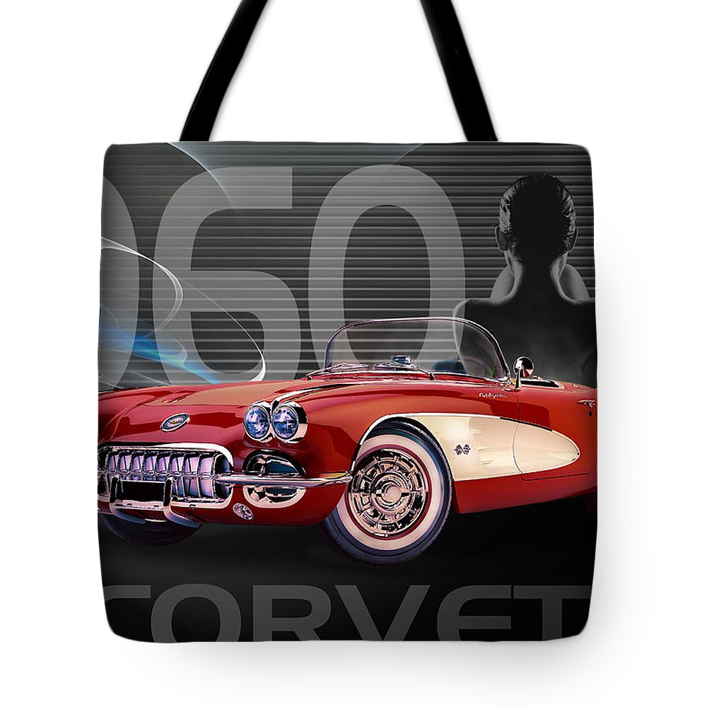 Corvette Tote Bag featuring the digital art 1960 Corvette by Anita Hubbard