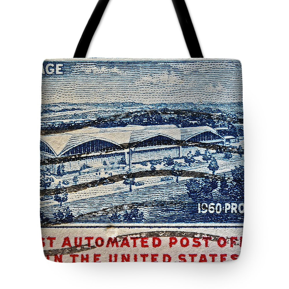 1960 Tote Bag featuring the photograph 1960 First Automated Post Office Stamp Providence Rhode Island by Bill Owen