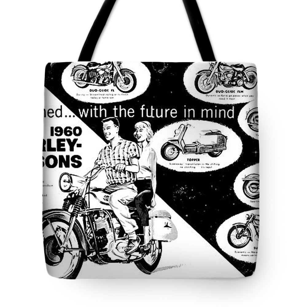 1960 Tote Bag featuring the digital art 1960 Harley Davidson by Bill Cannon