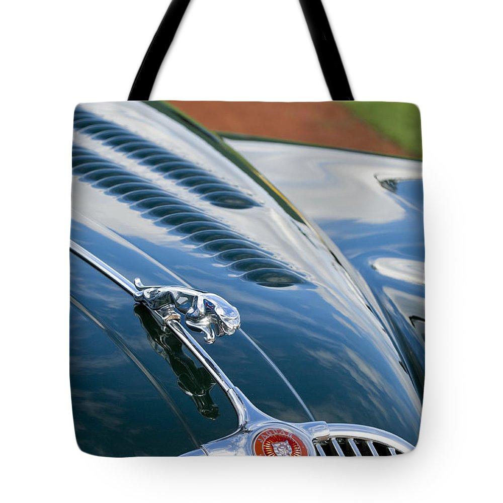 1960 Jaguar Xk 150s Fhc Tote Bag featuring the photograph 1960 Jaguar Xk 150s Fhc Hood Ornament 3 by Jill Reger