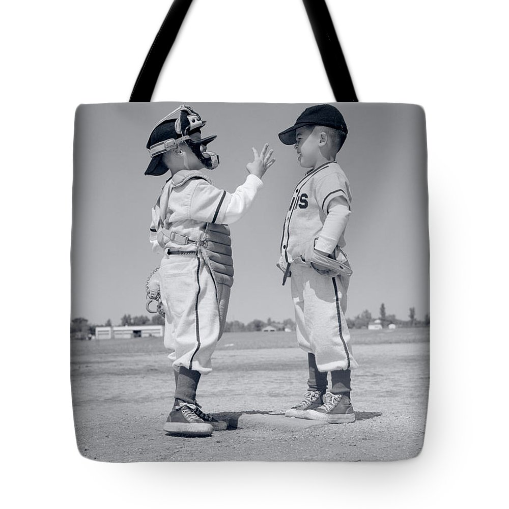 Photography Tote Bag featuring the photograph 1960s Boy Little Leaguer Pitcher by Vintage Images