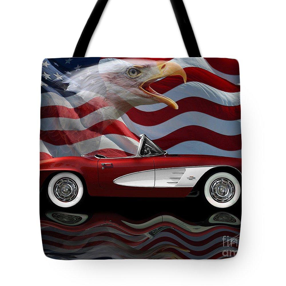 1961 Corvette Tribute Tote Bag featuring the photograph 1961 Corvette Tribute by Peter Piatt