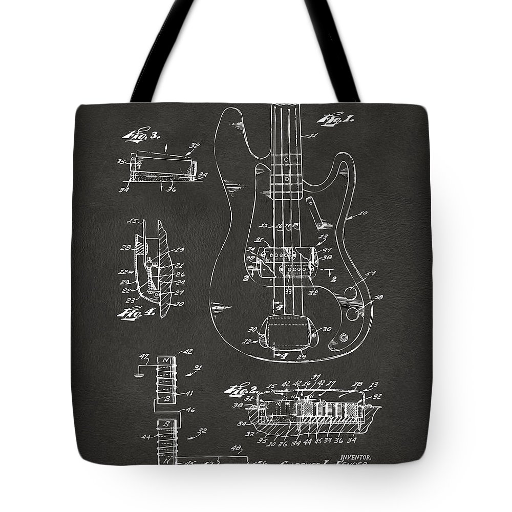 Guitar Tote Bag featuring the digital art 1961 Fender Guitar Patent Artwork - Gray by Nikki Marie Smith