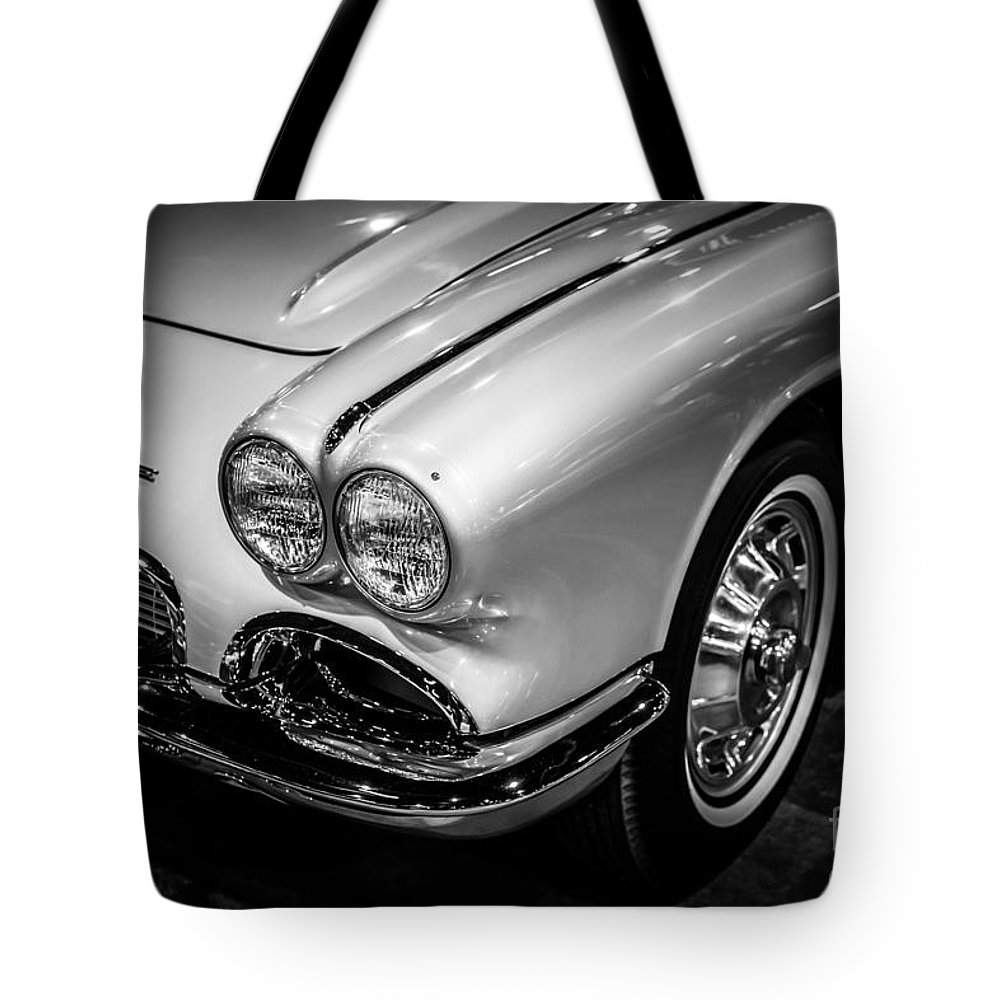 1960's Tote Bag featuring the photograph 1962 Chevrolet Corvette Black And White Picture by Paul Velgos