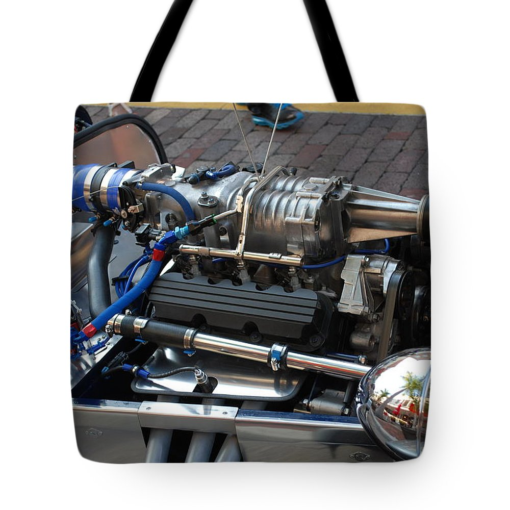 Gm3800 1962 V6 Supercharged Lotus Engine.downtown Ft.myers Tote Bag featuring the photograph 1962 V6 Lotus Engine by Robert Floyd