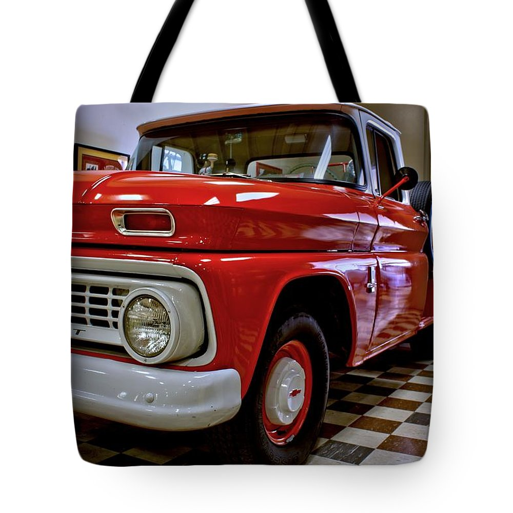 Antique Tote Bag featuring the photograph 1963 Chev Pick Up by Michael Gordon
