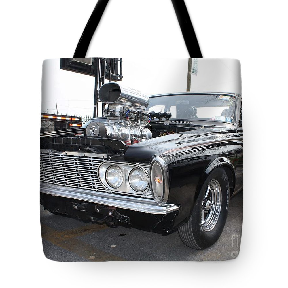 1963 Plymouth Modified Sedan Tote Bag featuring the photograph 1963 Plymouth Modified Sedan by John Telfer