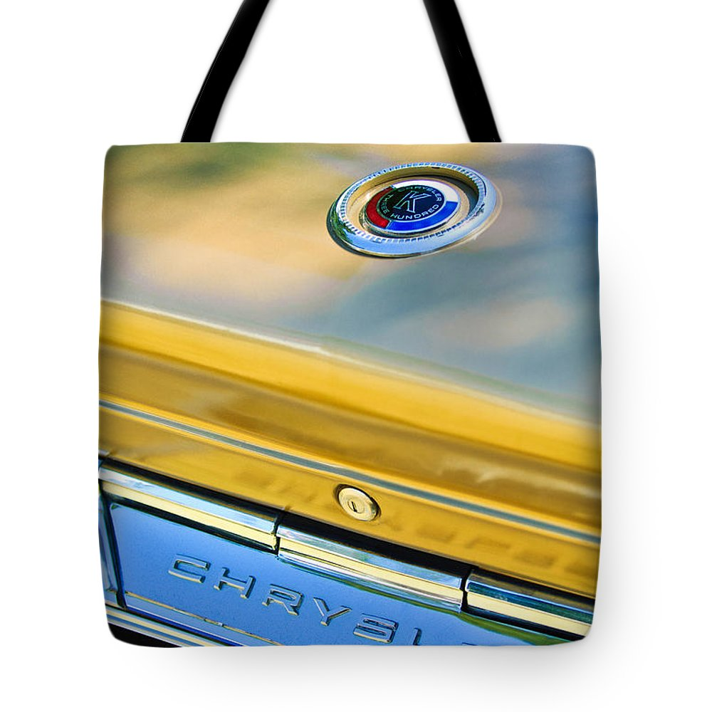 1964 Chrysler 300k Convertible Emblem Tote Bag featuring the photograph 1964 Chrysler 300k Convertible Emblem -3529c by Jill Reger