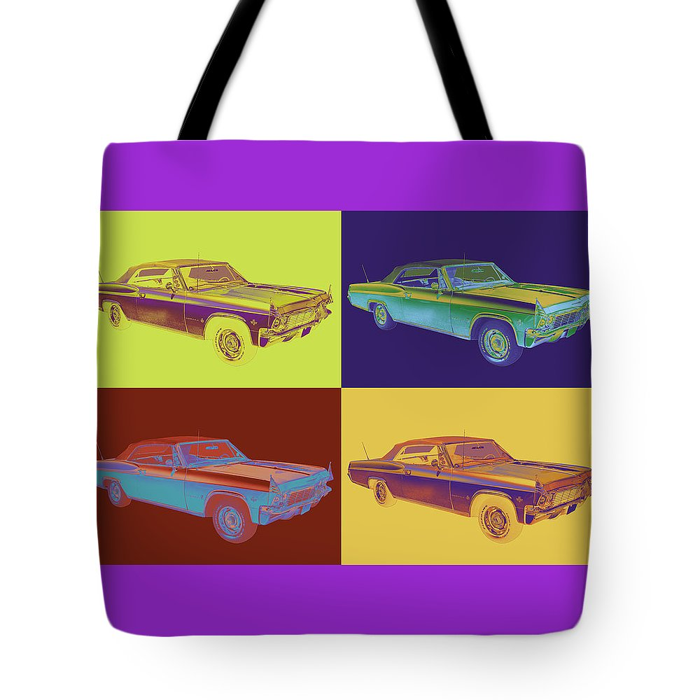 Car Tote Bag featuring the photograph 1965 Chevy Impala 327 Convertible Pop Art 1965 by Keith Webber Jr