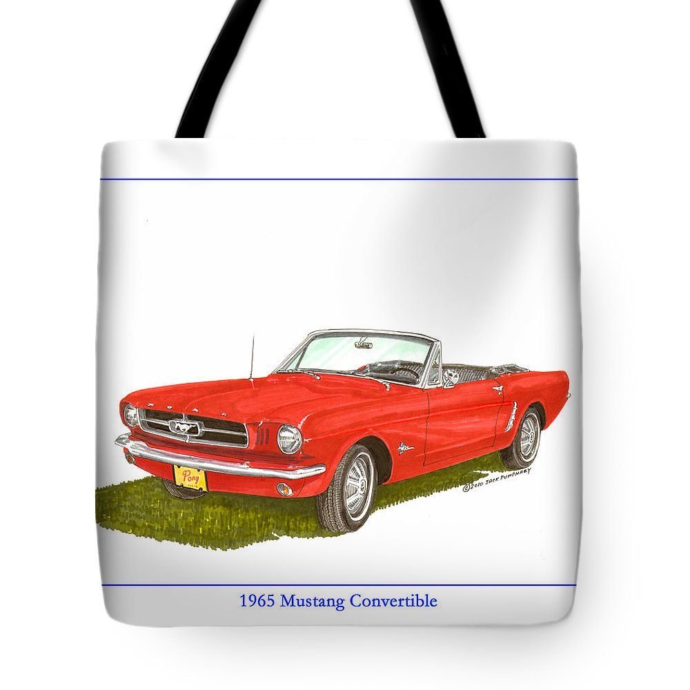 1389341c Jackscarart Tote Bag featuring the painting 1965 Ford Mustang Convertible  Pony Car by Jack Pumphrey