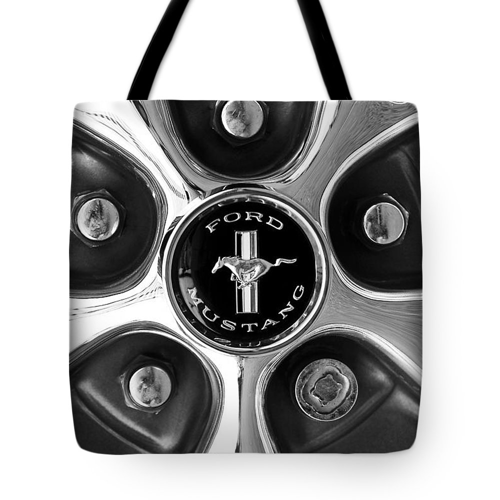 1965 Ford Mustang Gt Tote Bag featuring the photograph 1965 Ford Mustang Gt Rim Black And White by Jill Reger