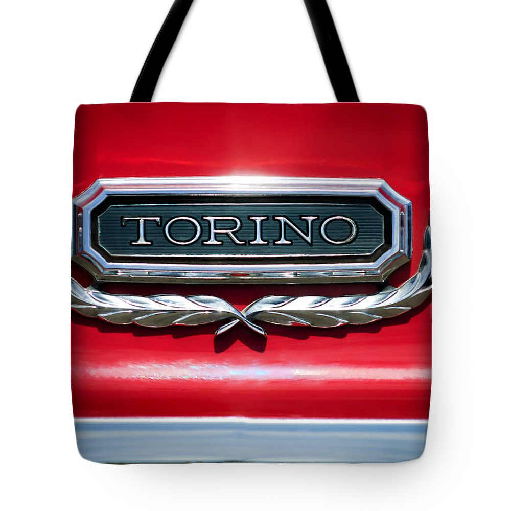 1965 Ford Torino Emblem Tote Bag featuring the photograph 1965 Ford Torino Emblem by Jill Reger