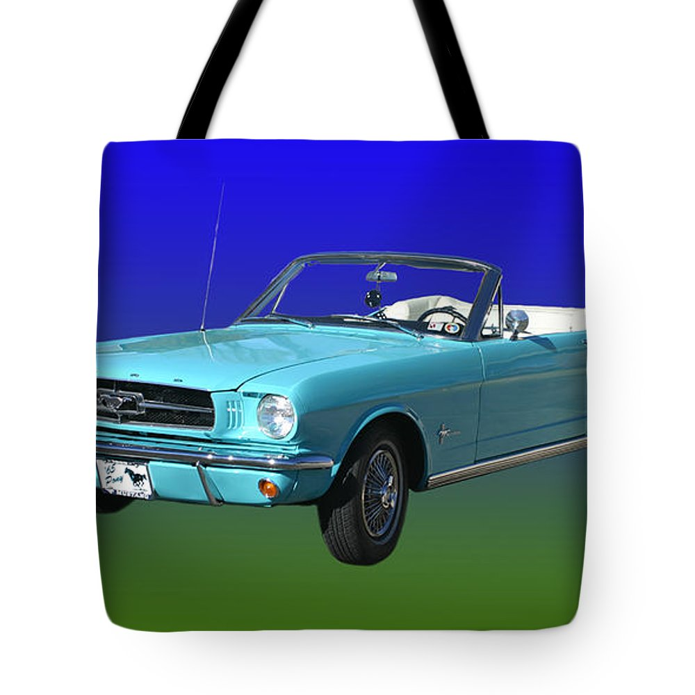 1965 Mustang Convertible Tote Bag featuring the photograph 1965 Mustang Convertible by Jack Pumphrey