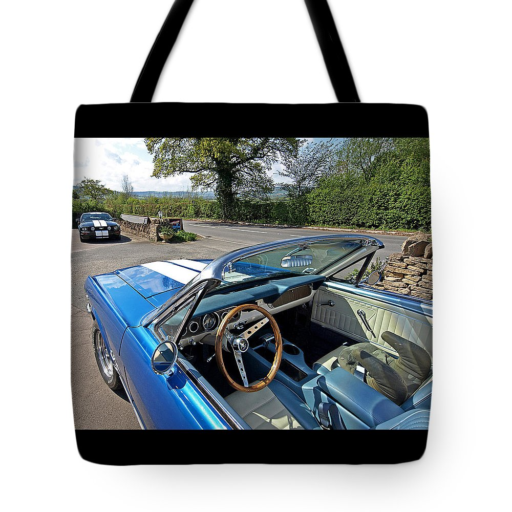 Ford Mustang Tote Bag featuring the photograph 1966 Convertible Mustang On Tour In The Cotswolds by Gill Billington