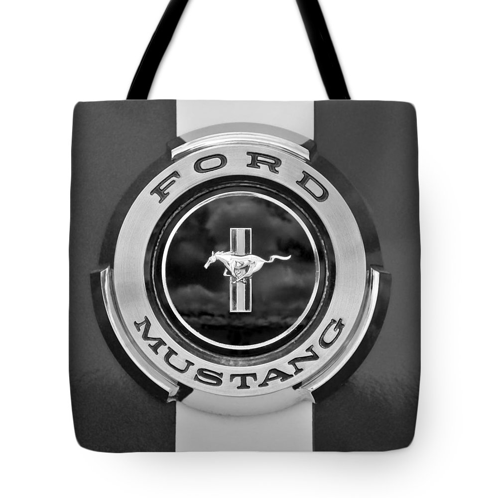1966 Ford Mustang Tote Bag featuring the photograph 1966 Ford Mustang Shelby Gt 350 Emblem Gas Cap -0295bw by Jill Reger