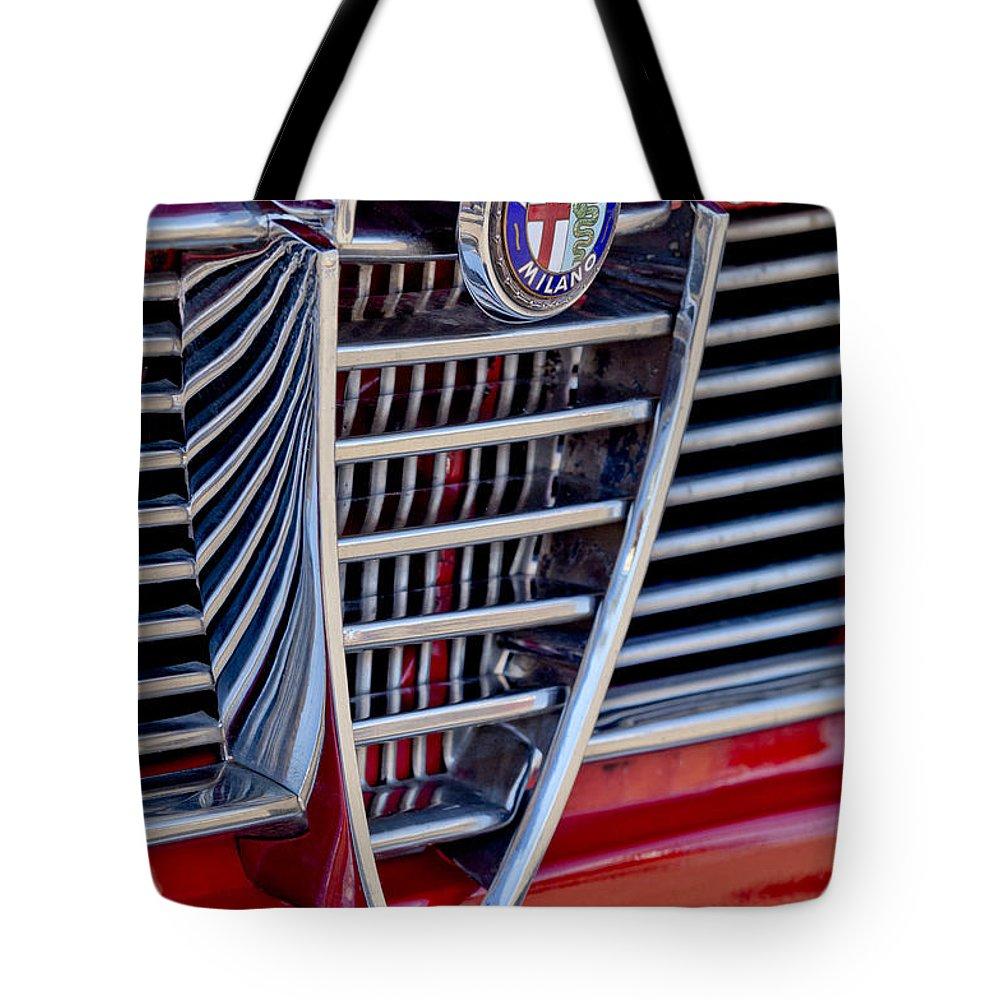 1967 Alfa Romeo Giulia Super Tote Bag featuring the photograph 1967 Alfa Romeo Giulia Super Grille Emblem by Jill Reger