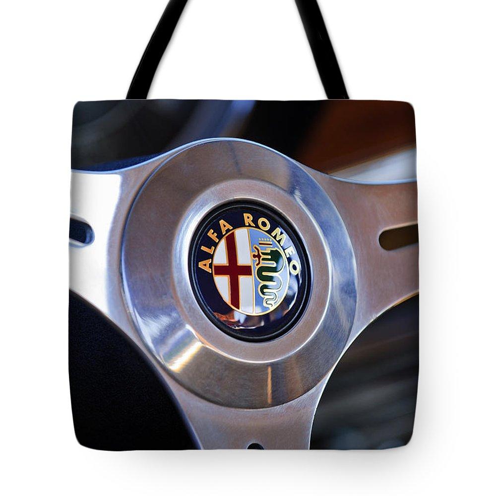 1967 Alfa Romeo Giulia Super Steering Wheel Emblem Tote Bag For Sale Wheels Featuring The Photograph