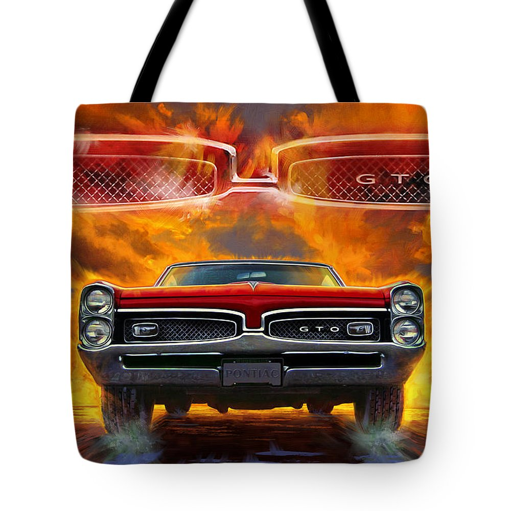 Sunset Tote Bag featuring the digital art 1967 Pontiac Tempest Lemans Gto by Garth Glazier