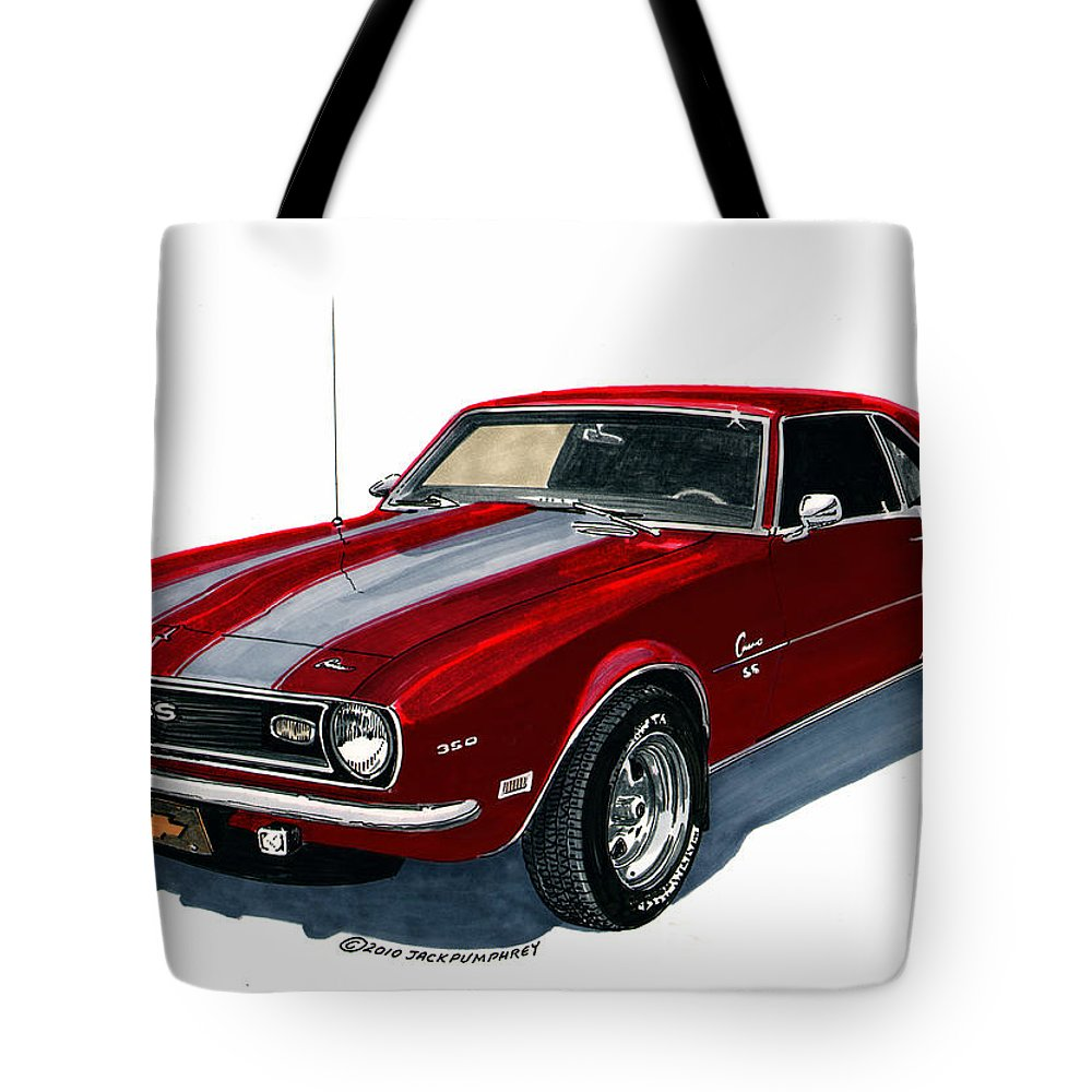 1968 Tote Bag featuring the painting 1968 Camaro Ss 350 by Jack Pumphrey