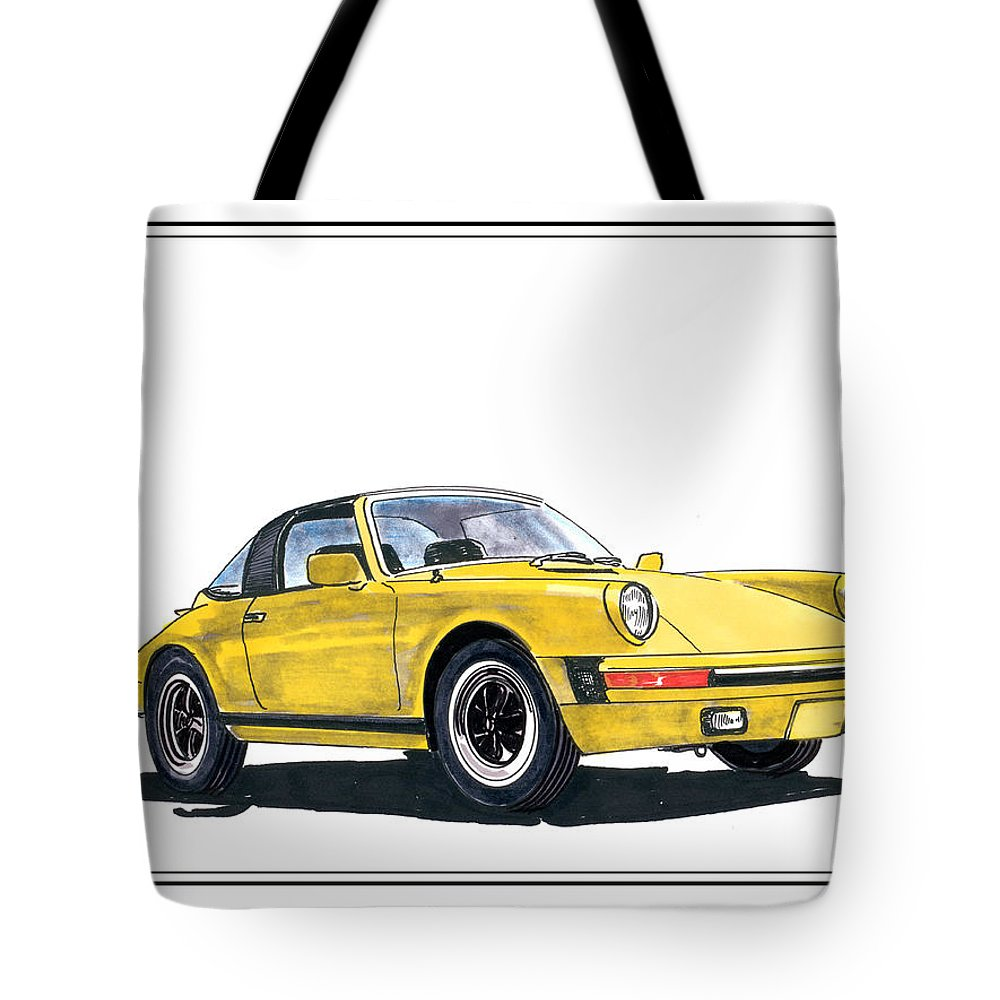 A Watercolor Paint With Ink Accents By Jack Pumphrey Of A 1968 Porsche 911 Targa Tote Bag featuring the painting 1968 Porsche Targa by Jack Pumphrey