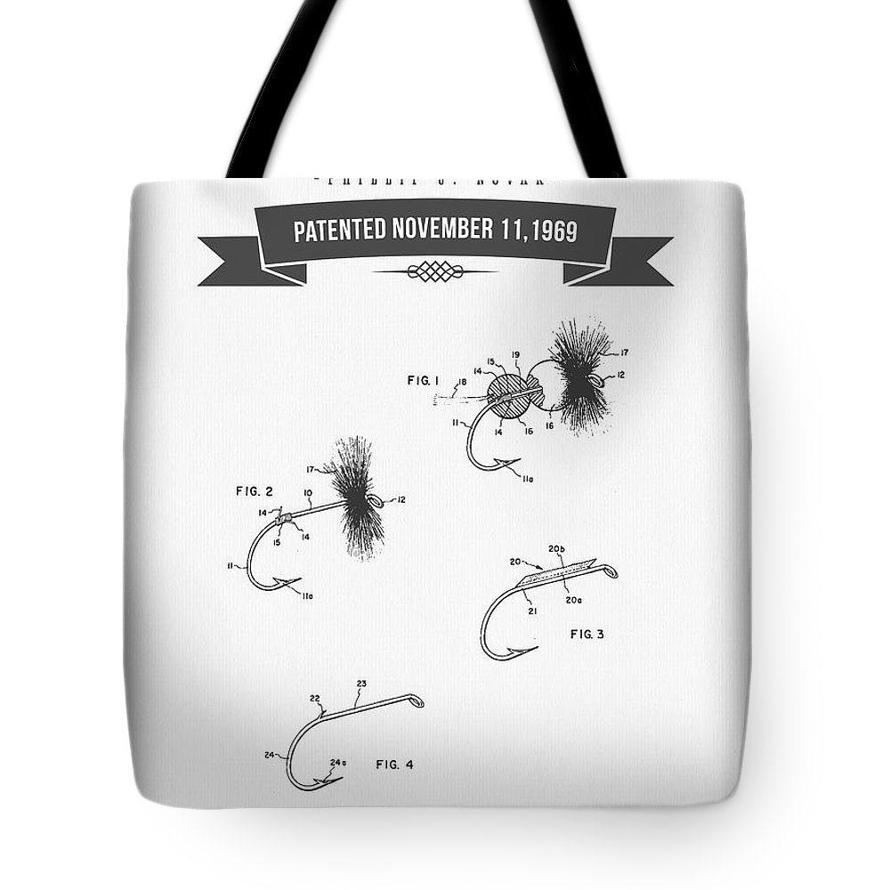 Fishing Fly Tote Bag featuring the digital art 1969 Fly Fishing Lure Patent Drawing by Aged Pixel