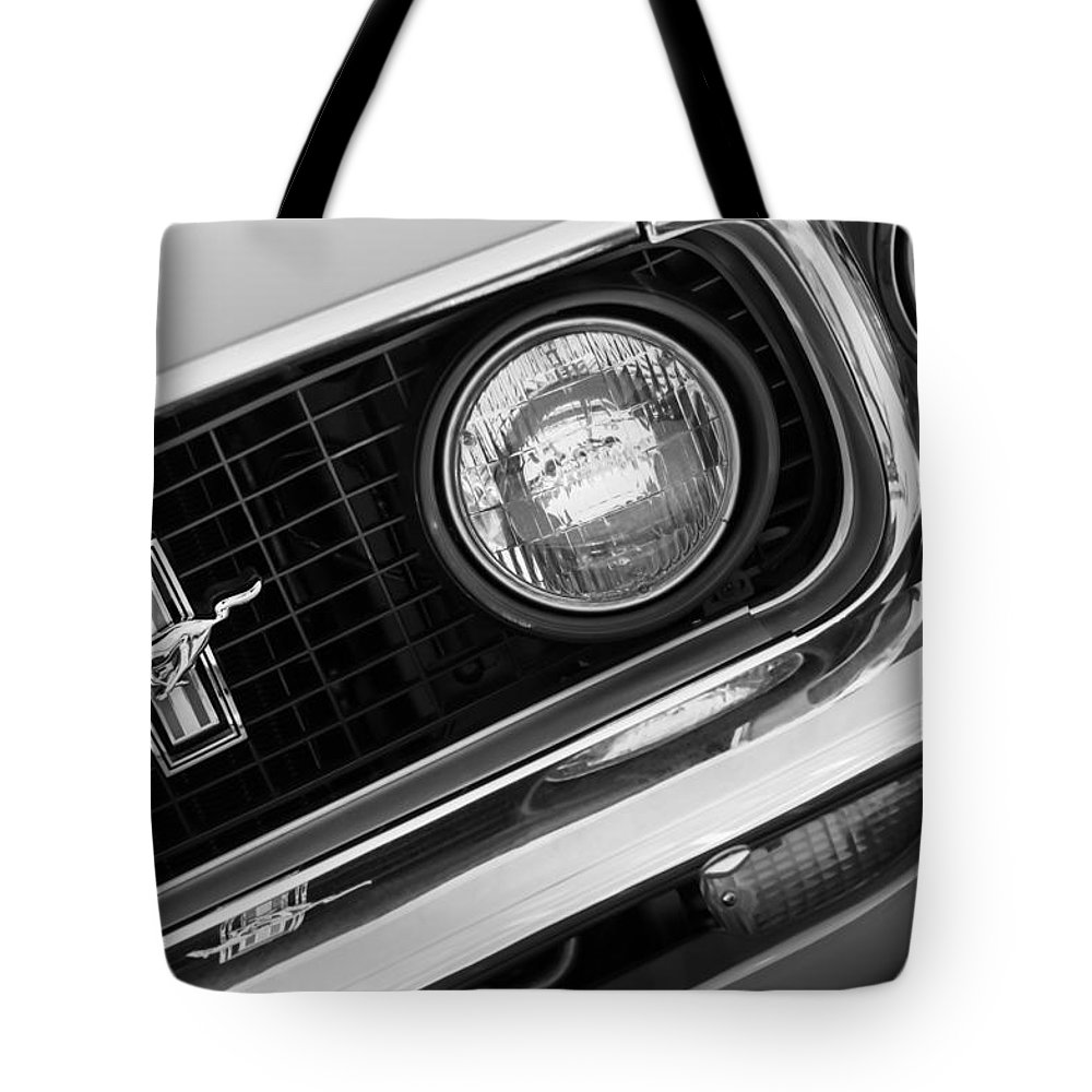 1969 ford mustang boss 429 grill emblem tote bag