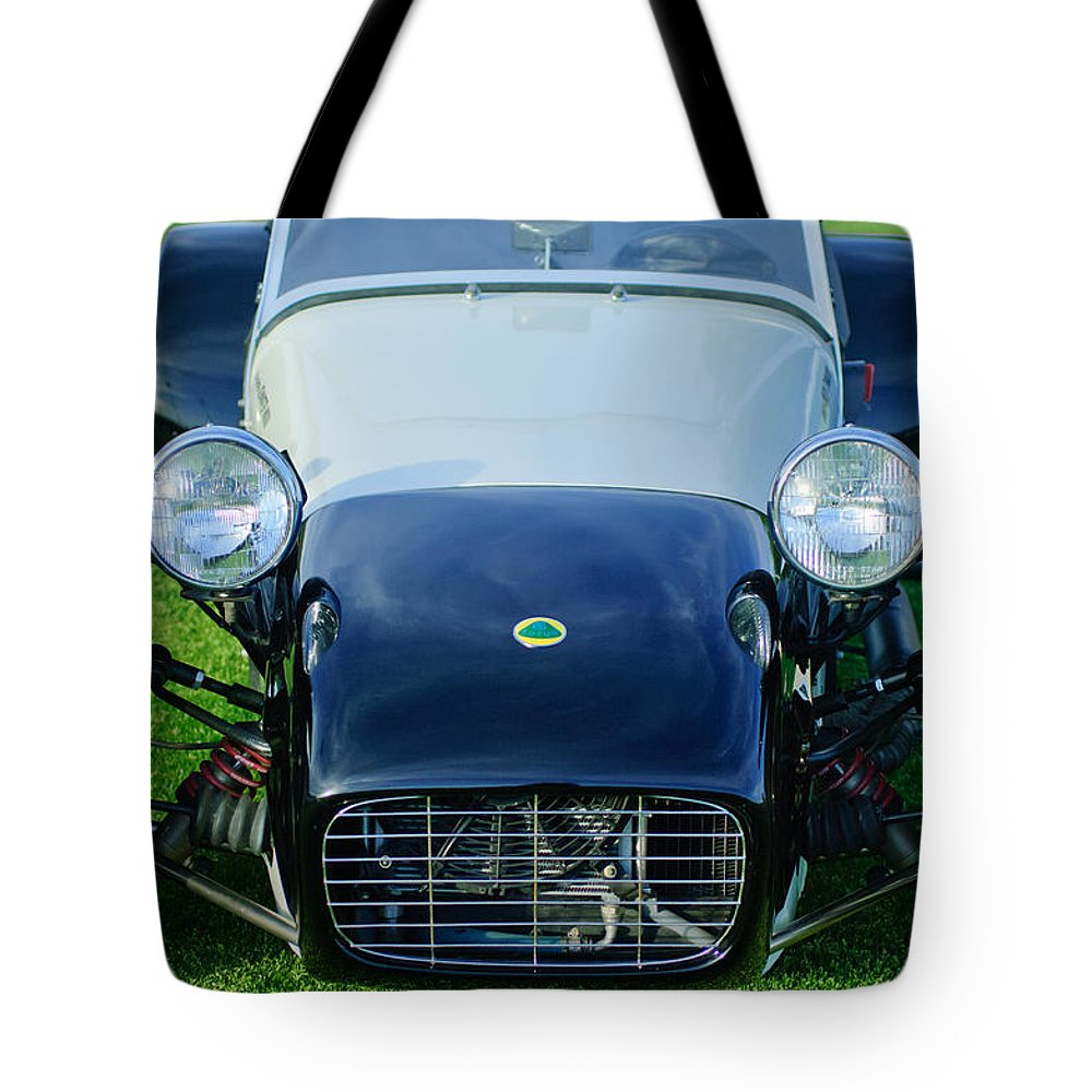 1969 Lotus Super Seven Tote Bag featuring the photograph 1969 Lotus Super Seven by Jill Reger