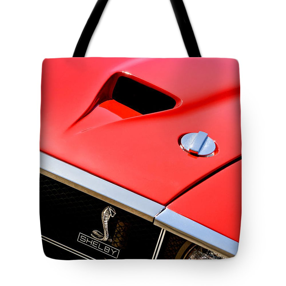 1969 Shelby Gt500 Convertible 428 Cobra Jet Hood - Grille Emblem Tote Bag featuring the photograph 1969 Shelby Gt500 Convertible 428 Cobra Jet Hood - Grille Emblem by Jill Reger