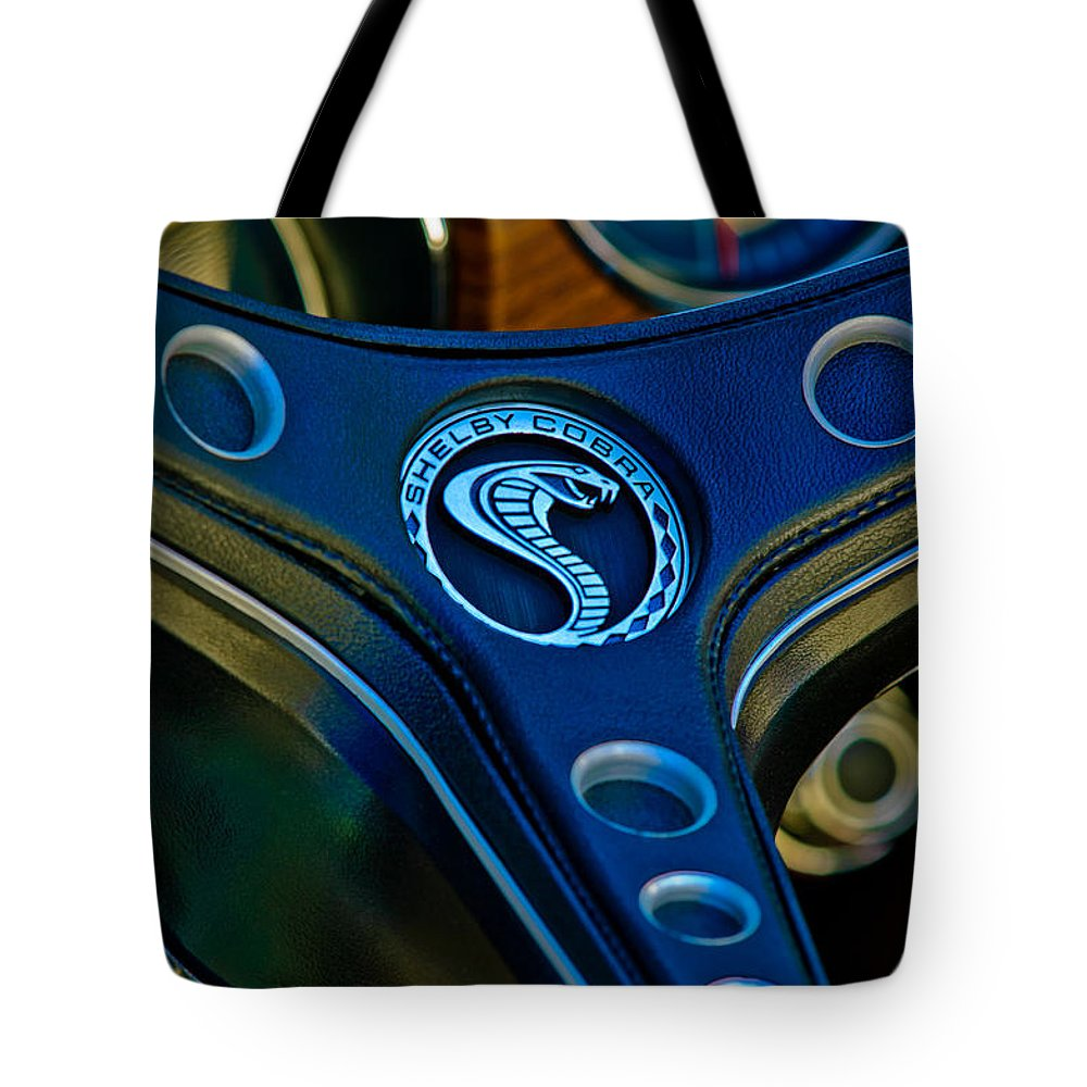 1969 Shelby Gt500 Convertible 428 Cobra Jet Steering Wheel Emblem Tote Bag featuring the photograph 1969 Shelby Gt500 Convertible 428 Cobra Jet Steering Wheel Emblem by Jill Reger