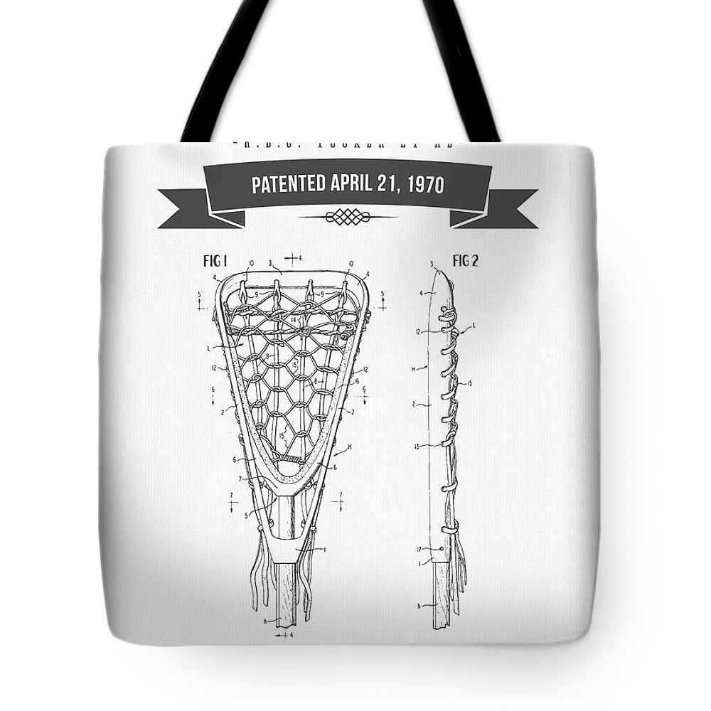 Lacrosse Tote Bag featuring the drawing 1970 Lacrosse Stick Patent Drawing - Retro Gray by Aged Pixel