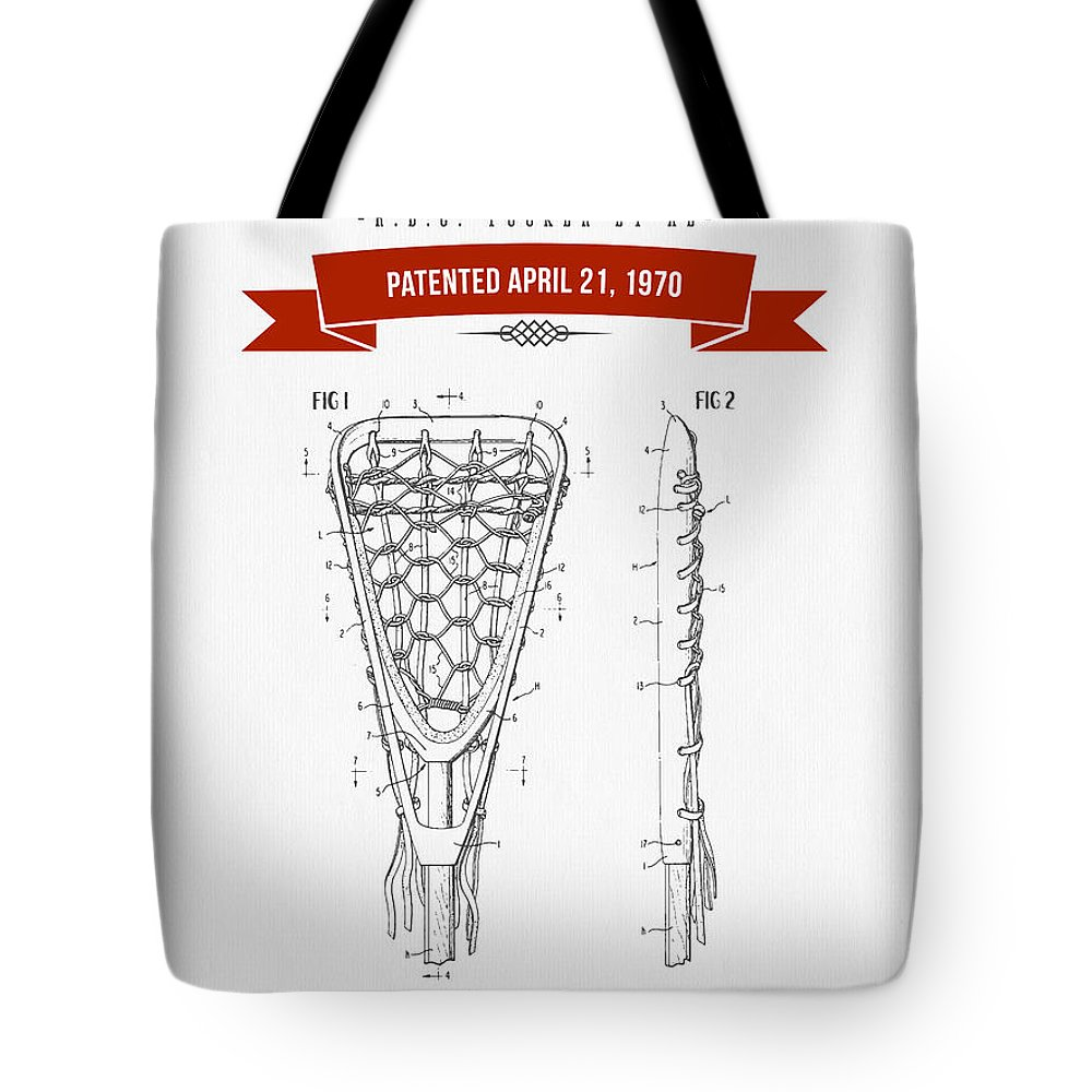 Lacrosse Tote Bag featuring the digital art 1970 Lacrosse Stick Patent Drawing - Retro Red by Aged Pixel