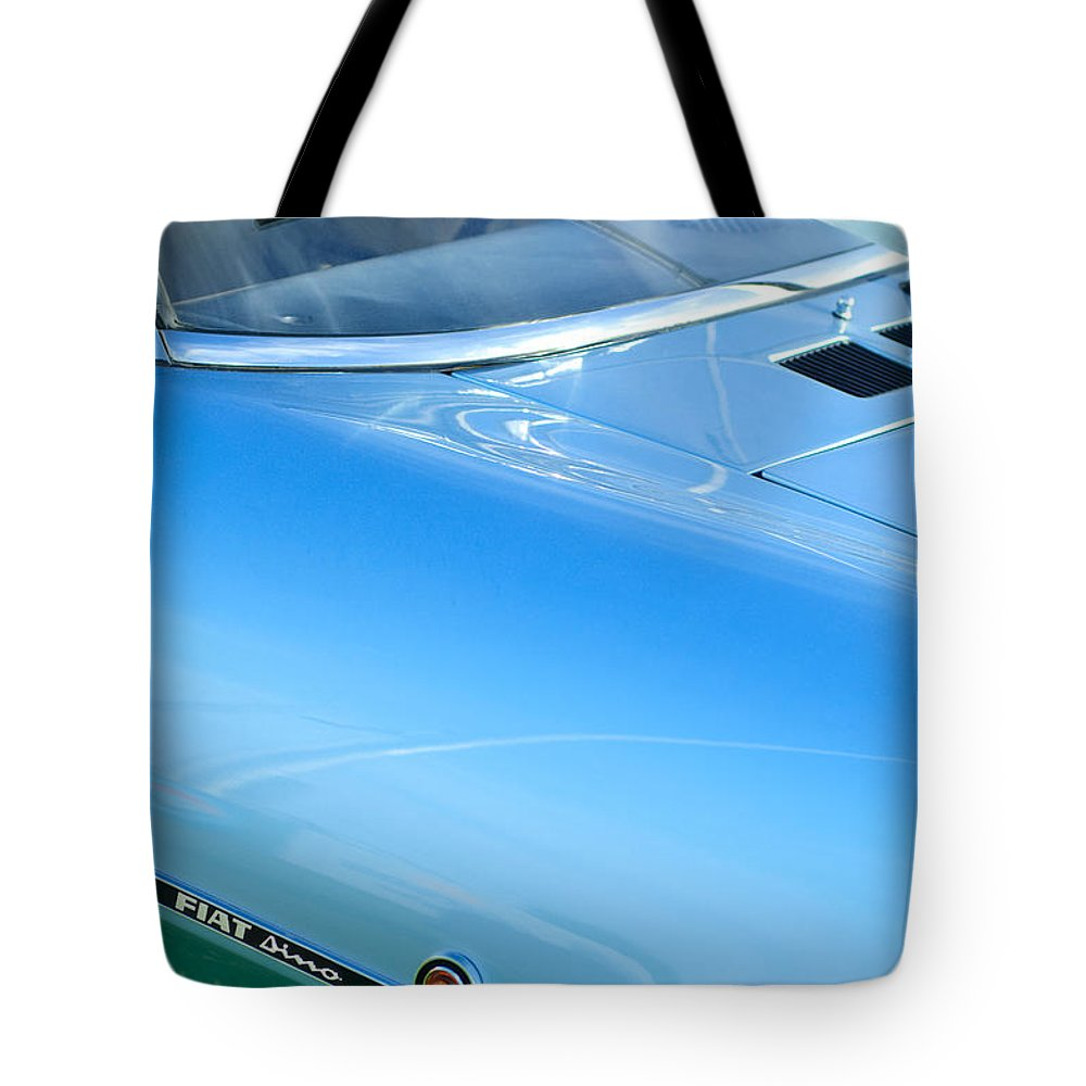 1971 Fiat Dino 2.4 Side Emblem Tote Bag featuring the photograph 1971 Fiat Dino 2.4 Side Emblem by Jill Reger