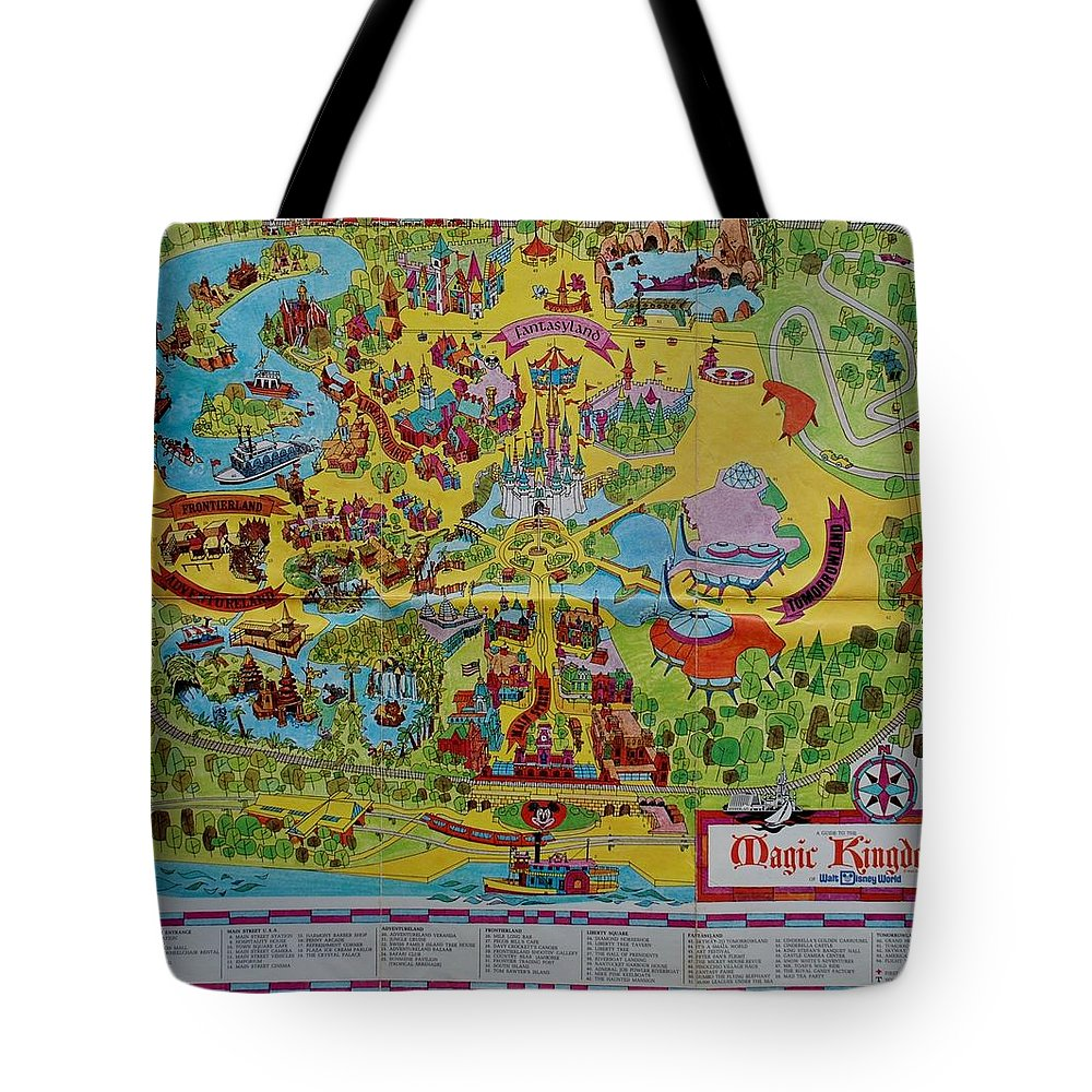 Walt Disney World Tote Bag featuring the photograph 1971 Original Map Of The Magic Kingdom by Rob Hans